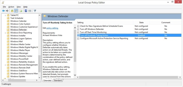 Enable this policy and windows defender now waits for your input before before taking the action.